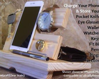 iPhone 6 Docking Station, iPhone 6s Phone Dock, Mens Valet, Phone Charging Station, Cellphone Dock