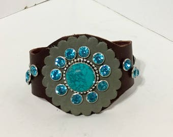Brown Leather Turquoise Cowgirl Cuff Bracelet