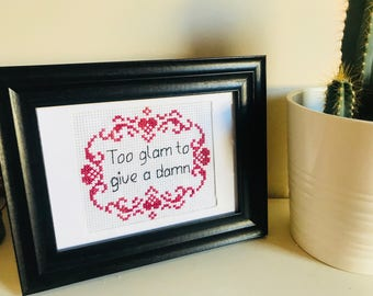 TOO GLAM floral complete framed cross stitch