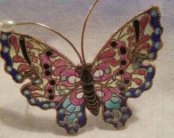 Stained Glass -Look Butterfly Brooch