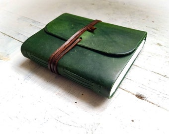 Green Leather watercolor sketchbook, watercolor journal, leather journal, artists book