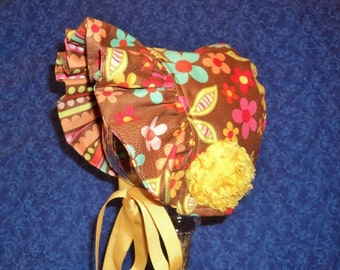Baby Bonnet With Flowers Reversible
