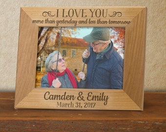 Anniversary frame, I love you more than yesterday and less than tomorrow quote, 5th anniversary gift for lovers, love quote frame FR0401