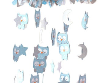 Owl Nursery Mobile in Baby Blue, Gray & White- LARGE SIZE Baby Mobile, Baby Shower Gift