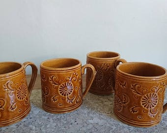 Ceramic Cups, Pottery Mugs, Floral Mugs, Flower Mugs, Amber, Brown, Folk, Rustic  x 4
