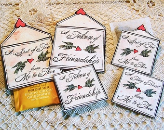 Mini Teabag Envelopes - Valentine's Day Friendship Any Occasion - Digital INSTANT DOWNLOAD - 2 Sizes For Small Candy, Tiny Gifts CS46C