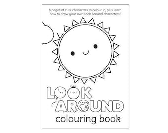 Look Around PDF - Kawaii Colouring Book for printing