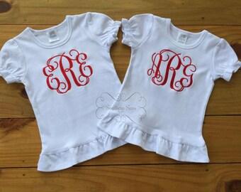 Girls Custom Large Monogram Ruffled Shirt