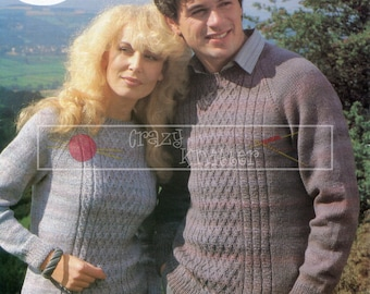 """Unisex Cable Panel Sweater 32-46"""" DK Sirdar 6443 Vintage Knitting Pattern PDF instant download"""