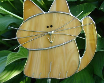 Stained Glass Orange Tabby Cat Garden Stake