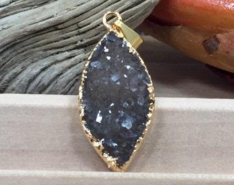 Druzy Pendant, Marquise Pendant, Marquise Druzy Pendant, Druzy, Drusy, 18K Gold Plated Pendant, Diamond Druzy, Naturals, PG0914S
