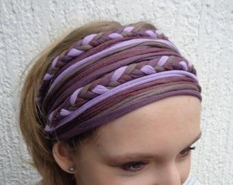 Purple Headband Head Wrap Yoga Turban Braided Head Scarf Extra Wide Headband Dreadband Head Scarf Gypsy Boho Headband Lavender Head band