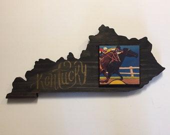 Derby Horses Kentucky Shape Wooden Art