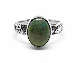 Turquoise Ring - Sterling Silver Ring - Women's Ring - Size 6.75 Ring - Green Stone - December Birthstone - Thick Band - Turquoise Jewelry