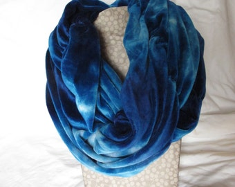 Blue Velour Scarf, Organic Velour Scarf, Hand Dyed Bamboo Velour Circle Scarf, Shades of Blue Scarf, Organic Bamboo Velour