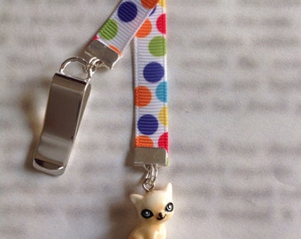 Cat bookmark / Kitten bookmark / Cute Cat Bookmark / Cute bookmark - Clip to cover then mark page with ribbon. Never lose your bookmark!