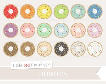 Sprinkle Donut Clipart, Doughnut Clip Art Dough Nut Food Dessert Cooking Baking Kitchen Cute Digital Graphic Design Small Commercial Use