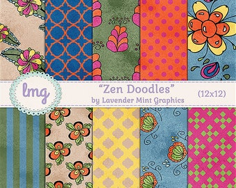 Zen Doodle, Zen Tangle, Digital Paper, Hand Drawn Doodle, Scrapbook Paper, Striped Background, Polka Dot Background, Damask Backgrounds