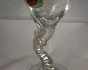 Wire Wrapped Z-Stem Martini Glass