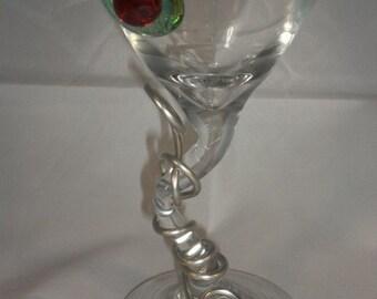 Wire Wrapped Z-Stem Martini Glass