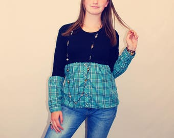 90s Vintage Top, Upcycled Top, Plaid Blouse, Upcycled Shirt, Bohemian Top, Bohemian Clothing, Upcycled Clothing, 90s Vintage Clothing