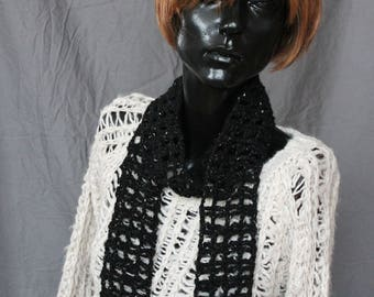 Crocheted Black with Iridescent Flecks Scarf