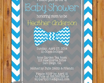 Little Man Bow Tie Baby Shower Invitation Blue Chevron Shower Invite 5x7 Digital Invite (231)