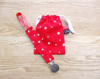 Pacifier and nipple red cotton with white stars, attached star lollipop