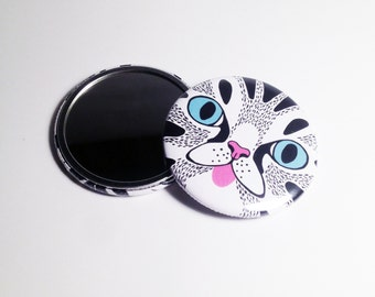 Cat Face Pocket Mirror Illustrated Compact Mirror