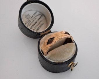 Antique 9K Gold Woven Hair Panel Ring. Victorian Sentimental Wedding Band. Memento Mori Mourning. Original Box. Chester England Hallmarks