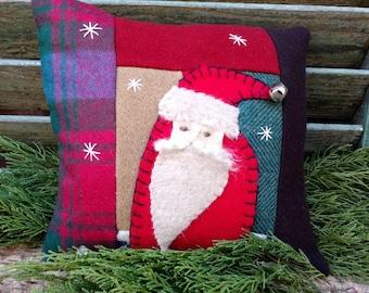 Primitive Stitchery Santa Winter Wool pillow tuck