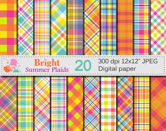 Bright Summer Plaid Digital Paper, Summer Multicolored Plaid Patterns, Plaid Printable Scrapbook Paper, Digital Download