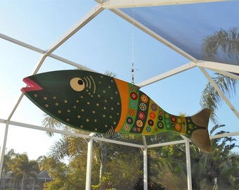 Far Out Fish Works ....Hanging Wind Fish . . .Green