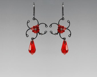 Red Swarovski Crystal Biohazard Earrings, Industrial Jewelry, Crystal Earrings,  Industrial Jewelry, Wire Wrapped, Biohazard Red II v8
