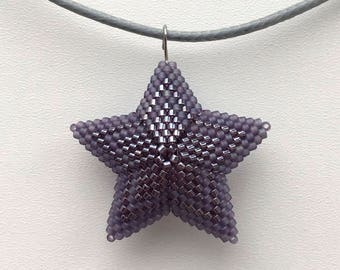 Peyote beaded handmade jewelry star christmas gift necklace pendant miyuki delica japan beads violet matt color 3D