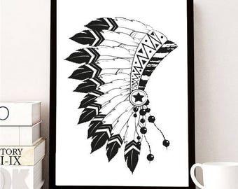 Poster frame + Indian headdress design