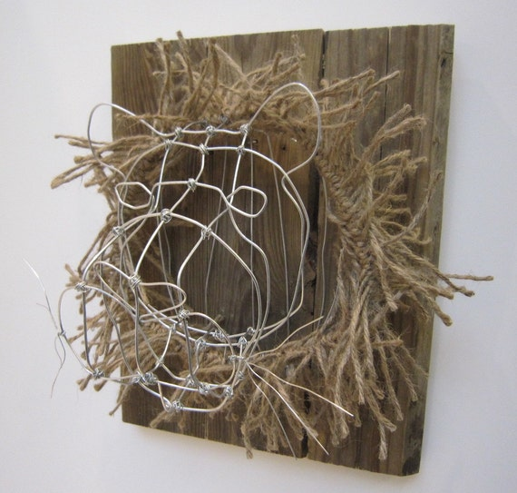 Faux Taxidermy Small Lion Head Wire Sculpture