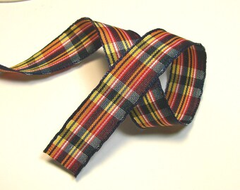 Plaid Ribbon, 15 mm, yellow, blue, red, white, Navy Blue, sold by the yard border.