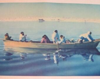 """Fred Machetanz """"Erreichen den Campingplatz"""" limitierte Auflage Alaskan Künstler Lithographie / Fischerboot"""