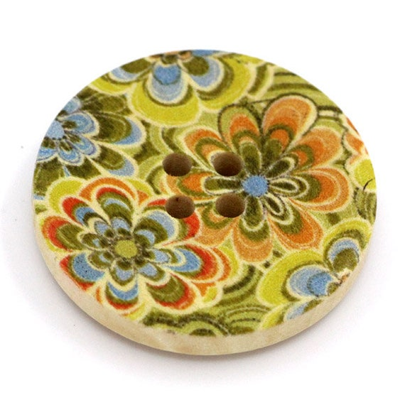 BBR30281 - 6 round buttons with colorful wooden 30 mm
