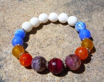 Chakra bracelet, Yoga jewelry, Zen bracelet, Agate bracelet, Stretch bracelet, Beaded bracelet, Colorful bracelet, Gemstone jewelry