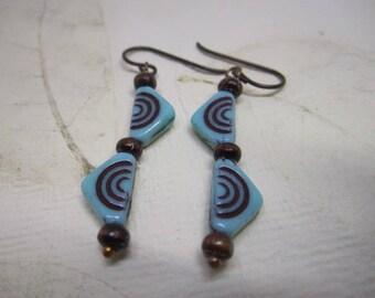 Geometric Earrings, Triangle Earrings, Turquoise and Brown, Niobium Ear wires, Boho Modern, Art Deco, Czech Glass