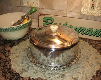 Chrome cake Cover and Glass Cake Plate Server reduced price