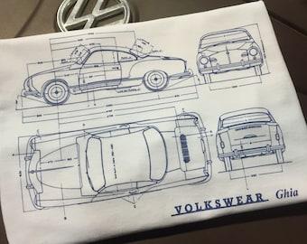 Classic Volkswagen Karmann Ghia Blueprint T-shirt.  Full front print on a 100% cotton preshrunk Tee. White shirt, navy blue print.