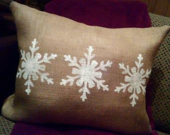 Burlap Christmas Pillow, Burlap Snowflake Pillow, Primitive Christmas Pillow, Snowflake Decor, Christmas Pillow, Country Primitive, Burlap
