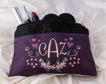 Monogrammed Cosmetic Bag, Small Makeup, Carry Case, Monogrammed Gift, Cosmetic Case, Travel Bag for Cosmetics, Personalized MakeUp Bag