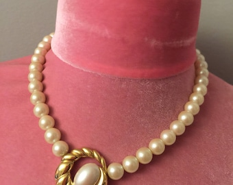 Richelieu Mid Century Signed Pearl Necklace with Gold and Pearl Center