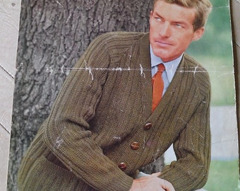 """Vintage 1960s Men's Double Knitting 'Wendy' Cardigan Pattern- 40""""-44"""" Chest"""