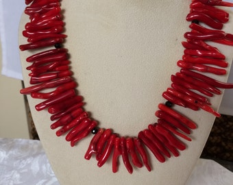 Red Cora Branches  With Black Onyx(Agate)accents and silver clasp Necklace
