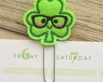 Shamrock Nerd St Patricks Day Gift, Cute Irish Bookmark, Funny Clover Planner Clips, - Pick Color